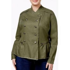 INC Green Linen Military Peplum Utility Jacket